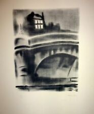 """Lithographie de FOY, """"Le Pont Neuf (La Nuit)"""""""