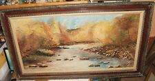 HUGE ROCKY RIVER BED LANDSCAPE OIL ON BOARD PAINTING SIGNED FROM MARLIS GALLERY