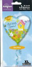 """Get Well Soon 18"""" Foil Balloon Heart Garden Birdhouse Bouquet Bee Sun NEW"""