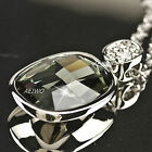 18K WHITE GOLD FILLED SIMULATED DIAMOND PENDANT NECKLACE