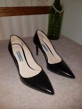 PRADA Pointy Toe Pump Heel Shoe Black Patent Leather size 37.5