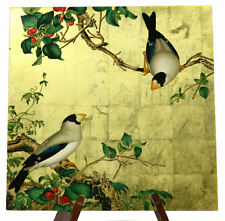 Yellow Brass Foil Background Hand Painting White Birds Small Wall Picture PPS02!