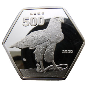 CAMERIA - ALBANIA 500 LEKE 2020 BIRD EAGLE - HEXAGONAL PROOF 40mm COIN