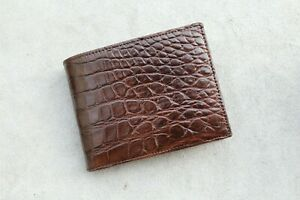 Real Alligator Crocodile Wallet SKIN Leather Bifold Men's Brown Handmade #M33