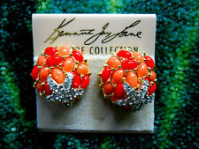 Kenneth Jay Lane Gold Two Tone Coral Cabochon Crystal Starfish Clip Earrings