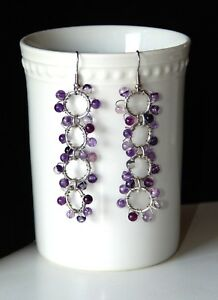 NEW HAND CRAFTED SILVER WIRE WRAPPED PIERCED EARRINGS W/AMETHYST GLASS BEADS