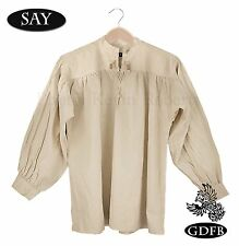 Reenactment Shirt Beige Laced Neck + Wood Toggles, Billow Sleeve Celtic Pirate