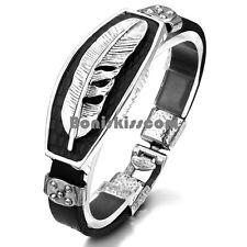 Vintage Feather Wing Black Silver Color Leather Wrap Men's Bracelet