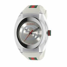 New Gucci Sync XL Swiss White Striped Rubber Strap Unisex Watch YA137102
