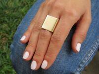 Adjustable Women Metallic Gold Silver Finger Wide Ring Trendy Ring
