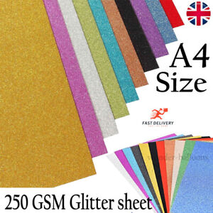 A4 Glitter Card Cardstock Premium Quality Low Shed 250gsm -15 Colours + Mixed UK