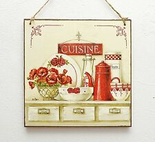 Vintage wooden hanging plaque/picture French cuisine, kitchen shelf, red
