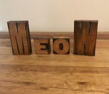 Vintage Wood Type Letterpress Printing Blocks Meow