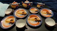 Vintage Child's 13 Pc.Tea Set, Cups, Dishes Porcelain LUSTERWARE Painted Swans