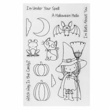 PVC Transparent Halloween Cute Witch Stamps Seal DIY Scrapbook Photo Album Decor