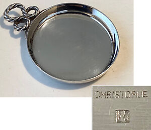 CHRISTOFLE Small Silver Plate Snack Nut Dish with Handle