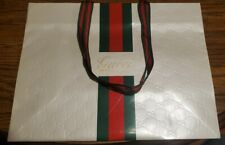 Gucci Shopping Bag Embossed Web Stripe White Vintage Super Rare 14x10x6