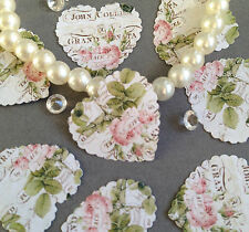 100 VINTAGE STYLE PINK ROSE & SCRIPT PAPER WEDDING TABLE CONFETTI DECORATION