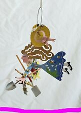 Gardener woman Fairy flowers bees metal hanging ornament all my soul needs