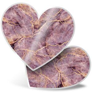 2 x Heart Stickers 7.5 cm - Marble Art Pink Purple Rock Effect  #21155