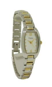 Caravelle by Bulova 45L116 Women's Silver & Gold Tone Analog Tonneau Watch