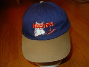 Mens Hooters of Toronto Leather Strap Back Baseball Hat Vintage Retro Style Blue