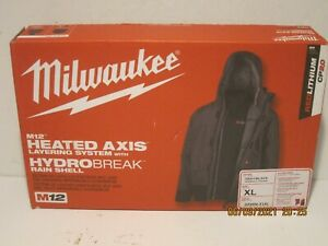 Milwaukee 203RN-21X MEN'S M12 Li-Ion HEATED AXIS HYDROBREAK RAIN SHELL KIT NISB!