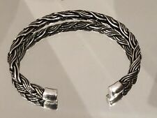 925 Sterling Silver Woven Braided Bangle Cuff Torque  UK Stock