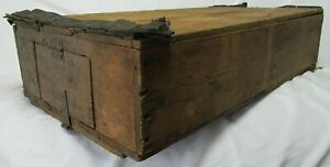 """Antique 24"""" Adirondack Trapper Backpack Wood Crate Hunting Lock Box"""