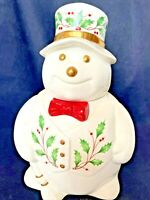 """Lenox Red Green Gold China Holiday Snowman Cookie Jar 13"""" Christmas Winter New"""