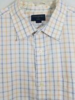 Banana Republic Mens Shirt Blue Plaid Slim Fit Long Sleeve Button Size 18 (XXL)