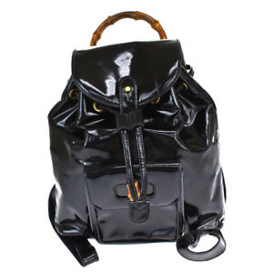 GUCCI Logo Bamboo Backpack Bag Patent Leather Black Gold Plated Italy 66BT657