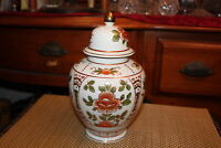 Chinese Lidded Spice Ginger Jar Vase Porcelain Flower Designs Hand Painted