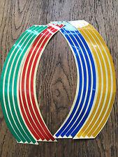 16 Multi Colour Wheel Rim Reflective Stickers Stripe Motorbike Safe Motorcycle