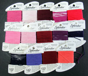 14xNeedlepoint/Embroidery THREAD R GALLERY Splendor 12ply silk-reds,purples-NJ26