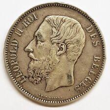 Ecu 5 francs argent leopold II belgique l'union fait la force 1875