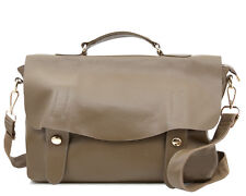 Unisex leather Laptop Satchel work bag Khaki Grey womens men messenger crossbody