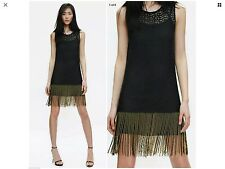 ZARA LACE/CROCHET BEAD TASSELS DRESS LINED SZ 8 STUNNING DRESS! BODY-CON