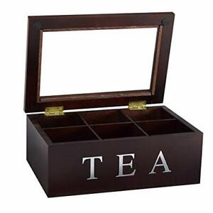Wooden 6 Compartment Window Display Tea Storage Chest, Espresso Finish