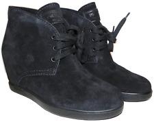 Prada Black Suede Hidden Concealed Wedge Lace up Boot 38.5 Booties 8.5
