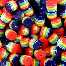 50 x Tube Cylinder beads Rainbow Stripe  9mm x 10mm Jewellery making Craft A23
