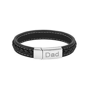 Bracelet Leather Men Stylish Engraved Dad Black Real Husband Fathers Day Gift