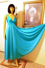 "OLGA vintage ""RARE"" Criss-Cross nightgown CYAN BLUE style 92400 32 size M medium"