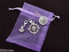 3 x Clip On Bracelet Charms buddha spiritual compass life maze wicca silver set