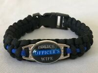 Police Officer's Wife Paracord Bracelet Support Awareness Black Blue NEW
