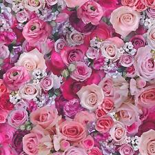 Pink Roses Wallpaper Urban Flowers Photographic Effect Paste the Wall 32722-1