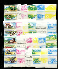Lesotho 1983 Mushrooms Scott 390-3 IMPERF TETE BECHE PAIRS Trial Color Proofs