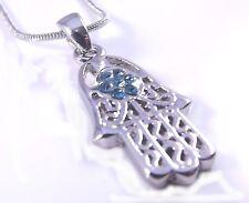 Hamsa Judaica Collar Colgante Kabbalah Mal de Ojo Amuleto Mano de Fatima joyeria