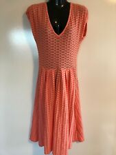 DESIGNER METALICUS ORANGE STRETCHY SKATER STRIPED SHIRT BODYCON DRESS ONE SIZE