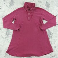 Soft Surroundings Pink Tunic waffle long sleeve 1/2 zip knit top womens large L